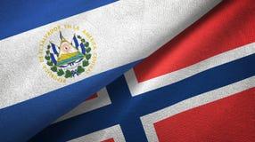El Salvador en Noorwegen twee vlaggen textieldoek, stoffentextuur royalty-vrije illustratie