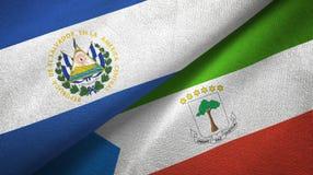 El Salvador and Equatorial Guinea two flags textile cloth, fabric texture. El Salvador and Equatorial Guinea two folded flags together royalty free illustration