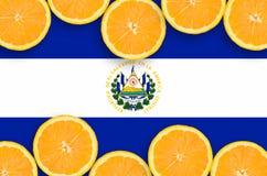 El Salvador flag in citrus fruit slices horizontal frame. El Salvador flag in horizontal frame of orange citrus fruit slices. Concept of growing as well as royalty free illustration