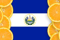 El Salvador flag in citrus fruit slices vertical frame. El Salvador flag in vertical frame of orange citrus fruit slices. Concept of growing as well as import royalty free illustration