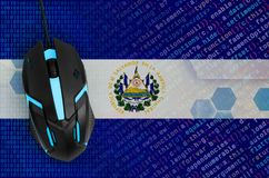 El Salvador flag and computer mouse. Digital threat, illegal actions on the Internet. El Salvador flag and modern backlit computer mouse. The concept of digital royalty free stock photo
