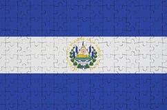 El Salvador flag is depicted on a folded puzzle royalty free illustration