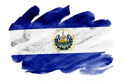 El Salvador flag is depicted in liquid watercolor style isolated on white background. Careless paint shading with image of national flag. Independence Day royalty free stock photos