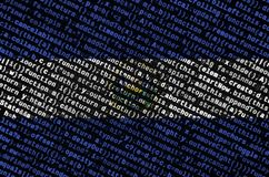 El Salvador flag is depicted on the screen with the program code. The concept of modern technology and site development.  stock illustration
