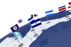 El Salvador flag. Country flag with chrome flagpole on the world map with neighbors countries borders. 3d illustration rendering flag Royalty Free Stock Images