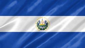 El Salvador Flag. With waving on satin texture royalty free illustration
