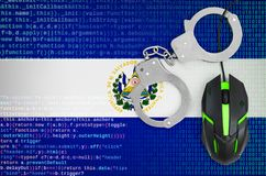 El Salvador flag and handcuffed computer mouse. Combating computer crime, hackers and piracy. El Salvador flag and handcuffed modern backlit computer mouse royalty free stock photography