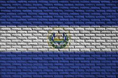 El Salvador flag is painted onto an old brick wall vector illustration