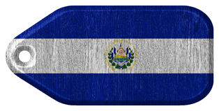 El Salvador flag. Painted on wooden tag stock photos