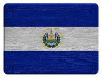 El Salvador flag. Painted on wooden tag royalty free stock photography