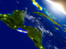 El Salvador with flag in rising sun Royalty Free Stock Photo