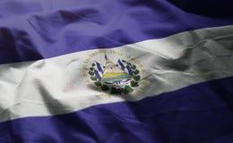 El Salvador Flag Rumpled Close Up.  stock photo
