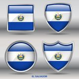 El Salvador Flag in 4 shapes collection with clipping path stock photos
