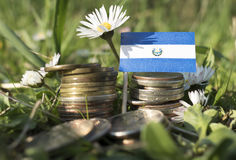 El Salvador flag with stack of money coins with grass. And flowers royalty free stock image