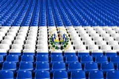 El Salvador flag stadium seats. Sports competition concept. El Salvador flag stadium seats. Sports competition concept stock photos