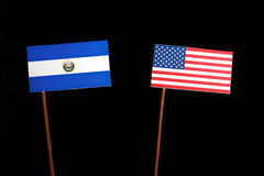 El Salvador flag with USA flag isolated on black. Background stock photo