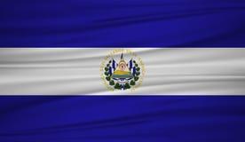 el salvador flag vector. Vector flag of el salvador blowig in the wind. stock illustration