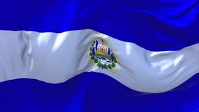 EL Salvador Flag Waving en fondo inconsútil continuo del lazo del viento stock de ilustración
