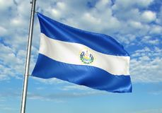 El Salvador flag waving with sky on background realistic 3d illustration. Salvadoran national flag realistic waving blue sky background 3d illustration royalty free stock photos
