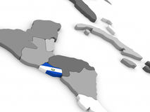 El Salvador on globe with flag Stock Photography