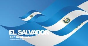 El Salvador Independence Day flag ribbon landscape background. National symbol landmark banner vector royalty free illustration