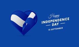 El Salvador Independence Day. 15 September. Waving flag in heart. Vector. El Salvador Independence Day. 15 September. Waving flag in heart. Vector illustration Stock Image