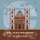 El Salvador landmarks. San Francisco church. Retro styled image Stock Image