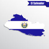 El Salvador map with flag inside and ribbon Royalty Free Stock Photos