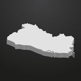 El Salvador map in gray on a black background 3d. El  Salvador map in gray on a black background 3d Royalty Free Stock Images
