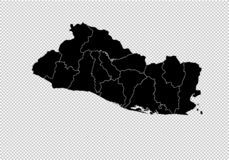 El Salvador map - High detailed Black map with counties/regions/states of El Salvador. El Salvador map isolated on transparent stock illustration