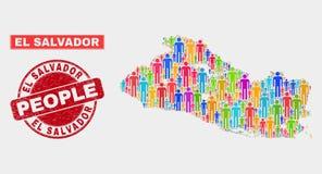 EL Salvador Map Population People et phoque corrodé de timbre illustration libre de droits