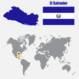 El Salvador map on a world map with flag and map pointer. Vector illustration Royalty Free Stock Image