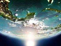 El Salvador mit Sonne auf Planet Erde Lizenzfreies Stockbild