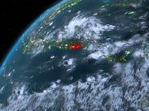 El Salvador na terra do planeta no espaço na noite Foto de Stock