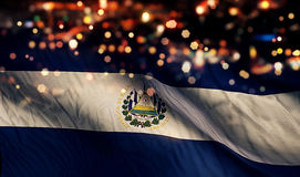 El Salvador National Flag Light Night Bokeh Abstract Background Royalty Free Stock Photography