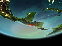El Salvador at night on Earth. El Salvador from orbit of planet Earth at night with highly detailed surface textures. 3D illustration. Elements of this image Royalty Free Stock Image