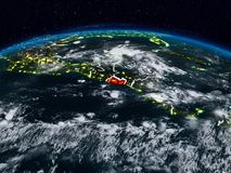 El Salvador at night. El Salvador from space at night on Earth with visible country borders. 3D illustration. Elements of this image furnished by NASA Stock Photos