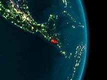 El Salvador at night. Illustration of El Salvador as seen from Earth's orbit at night. 3D illustration. Elements of this image furnished by NASA Royalty Free Stock Photography