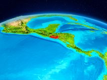 El Salvador from orbit. Satellite view of El Salvador highlighted in red on planet Earth. 3D illustration. Elements of this image furnished by NASA Stock Image