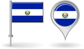 El Salvador pin icon and map pointer flag. Vector Stock Image