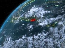 El Salvador on planet Earth in space at night. Illustration of El Salvador as seen from Earth's orbit at night. 3D illustration. Elements of this image Stock Photo