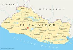 El Salvador politische Karte Lizenzfreies Stockfoto