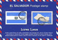 El Salvador postage stamp, vintage stamp, air mail envelope. Royalty Free Stock Images