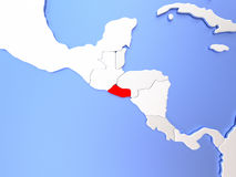 El Salvador in red on map Royalty Free Stock Image