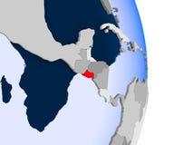 El Salvador on globe. El Salvador in red on model of political globe with transparent oceans. 3D illustration royalty free illustration