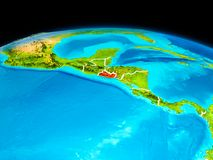 El Salvador in red. Satellite view of El Salvador highlighted in red on planet Earth with borderlines. 3D illustration. Elements of this image furnished by NASA Stock Photography