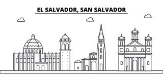 El Salvador, San Salvador architecture skyline buildings, silhouette, outline landscape, landmarks. Editable strokes. Flat design line banner, vector royalty free illustration