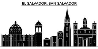 El Salvador, San Salvador architecture vector city skyline, travel cityscape with landmarks, buildings, isolated sights. El Salvador, San Salvador architecture Stock Images