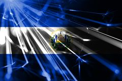 El Salvador shining fireworks sparkling flag. New Year 2019 and Christmas futuristic shiny party concept flag. El Salvador shining fireworks sparkling flag. New royalty free illustration