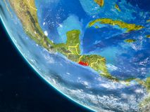 El Salvador from space on Earth. El Salvador on planet Earth from space with country borders. Very fine detail of planet surface and clouds. 3D illustration vector illustration